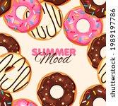 donut seamless pattern....   Shutterstock .eps vector #1989197786