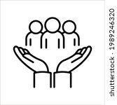 employees on human hand line...   Shutterstock .eps vector #1989246320