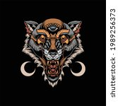 neo traditional wolf tattoo... | Shutterstock .eps vector #1989256373
