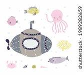 submarine swimming underwater ...   Shutterstock .eps vector #1989282659