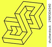 optical illusion  impossible... | Shutterstock .eps vector #1989304340