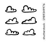 set of funny clouds in line art ...   Shutterstock . vector #1989349976