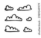 set of funny clouds in line art ...   Shutterstock . vector #1989349979