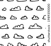 set of funny clouds in line art ...   Shutterstock . vector #1989350000