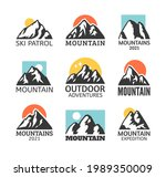hand drawn mountain isolated. ...   Shutterstock . vector #1989350009