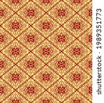 ethnic seamless red and yellow... | Shutterstock .eps vector #1989351773