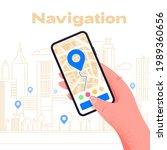 mobile gps navigation on... | Shutterstock .eps vector #1989360656