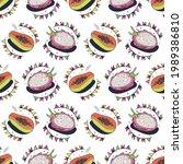papaya and dragon fruit.... | Shutterstock .eps vector #1989386810