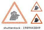 mosaic chicken warning icon...   Shutterstock .eps vector #1989443849