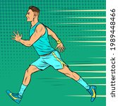runner male athlete. sports and ... | Shutterstock .eps vector #1989448466