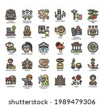 set of italy symbol thin line... | Shutterstock .eps vector #1989479306
