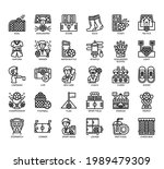 set of football thin line and... | Shutterstock .eps vector #1989479309