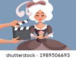 actress wearing a ball gown... | Shutterstock .eps vector #1989506693