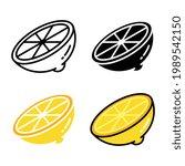 fresh lemon slices. sliced... | Shutterstock .eps vector #1989542150