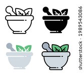 herbal bowl with leaf plants... | Shutterstock .eps vector #1989543086