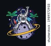 astronaut sitting on planet...   Shutterstock .eps vector #1989572933