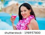 beautiful portrait woman on the ... | Shutterstock . vector #198957800