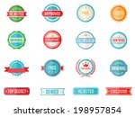 Set of sixteen vector colored emblems and stamps in flat style depicting denied  approved  exclusive  original  certified  free and 100 percent guarantee in round and rectangular banner form