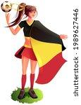 woman fan soccer player in...   Shutterstock .eps vector #1989627446