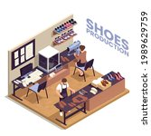 shoes production concept with...   Shutterstock .eps vector #1989629759