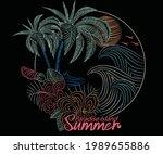 tropical flower print design.... | Shutterstock .eps vector #1989655886