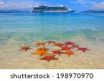 starfish on the beach and...   Shutterstock . vector #198970970