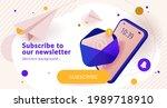 newsletter subscription banner. ... | Shutterstock .eps vector #1989718910