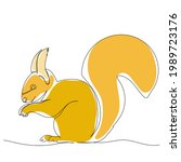 squirrel drawing by one...   Shutterstock .eps vector #1989723176