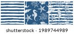 set of sea style seamless... | Shutterstock .eps vector #1989744989