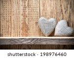 Heart On A Wooden Shelf. Woode...
