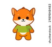 cute plush fox wearing shirt. ...   Shutterstock .eps vector #1989848483