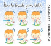 instructions on how to brush... | Shutterstock .eps vector #198984950