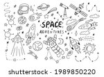 doodle space illustration in...   Shutterstock .eps vector #1989850220