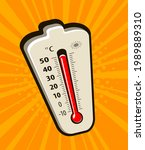 thermometer with rising...   Shutterstock .eps vector #1989889310