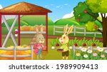 farm at daytime scene with cute ... | Shutterstock .eps vector #1989909413
