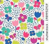 cute colorful hand drawn floral ... | Shutterstock .eps vector #1989952919