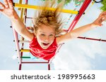 little girl having fun playing... | Shutterstock . vector #198995663