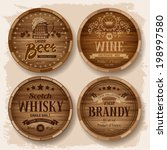 Set Of Wooden Barrels With...