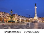 night scene of rossio square ... | Shutterstock . vector #199002329