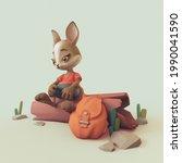 Adventurer Cartoon Rabbit With...
