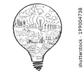 conceptual image of light bulb... | Shutterstock . vector #199004738