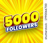 5000 followers banner. vector...   Shutterstock .eps vector #1990066700