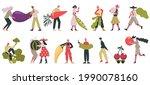 vegetarian characters. people... | Shutterstock .eps vector #1990078160