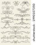 flourish calligraphic design...   Shutterstock .eps vector #1990107350