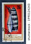 Small photo of Burundi - circa 1967 : Cancelled postage stamp printed by Burundi, that shows Basketry and spears, circa 1967.
