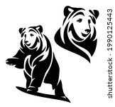standing brown bear with one...   Shutterstock .eps vector #1990125443