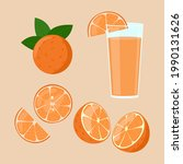 orange juice isolated. slices...   Shutterstock .eps vector #1990131626