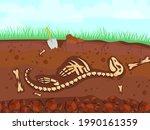 dinosaur skeleton in cartoon...   Shutterstock .eps vector #1990161359