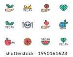 vegan color filled line icon...