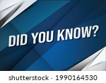did you know   word concept...